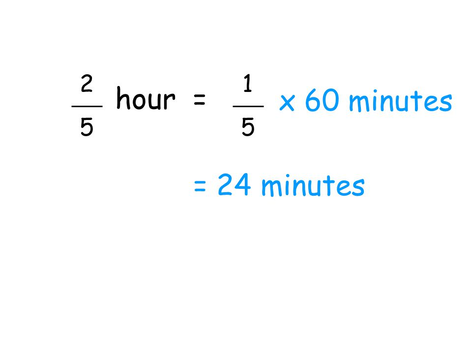 2 5 1 5 hour = x 60 minutes = 24 minutes