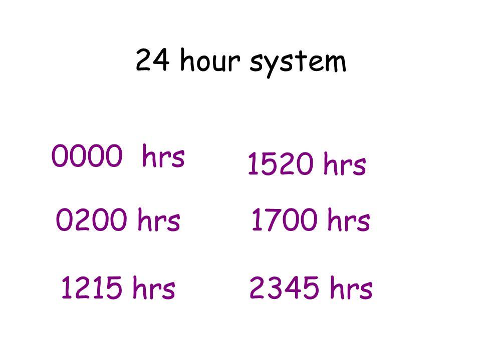 24 hour system 0000 hrs 1520 hrs 0200 hrs 1700 hrs 1215 hrs 2345 hrs