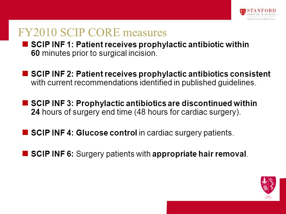 FY2010 SCIP CORE measures SCIP INF 1: Patient receives prophylactic antibiotic within 60 minutes prior to surgical incision.