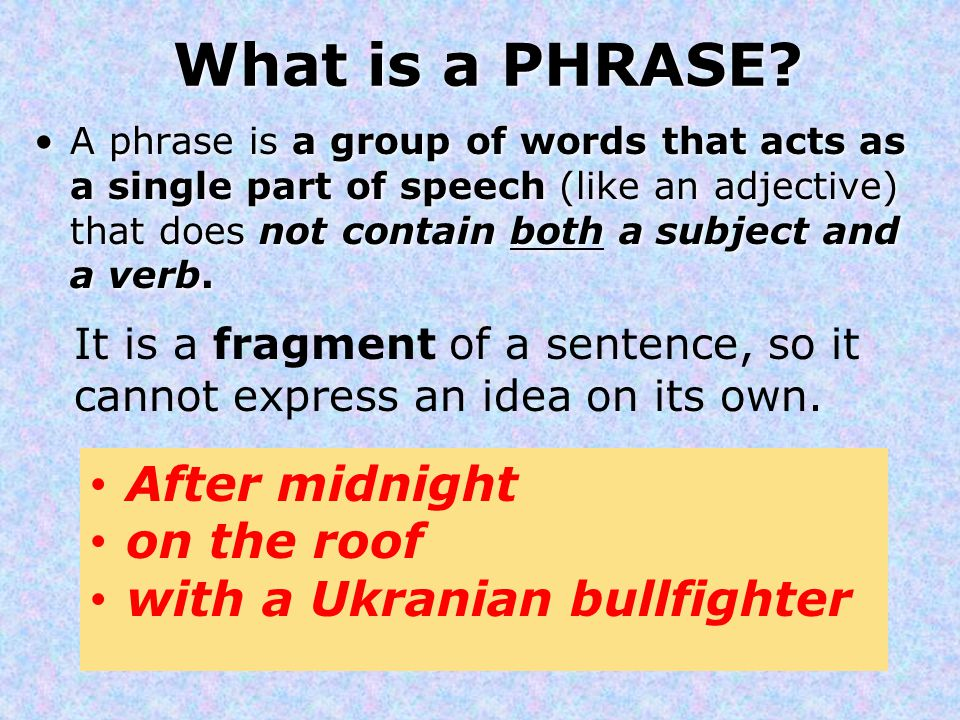 What is a PHRASE After midnight on the roof
