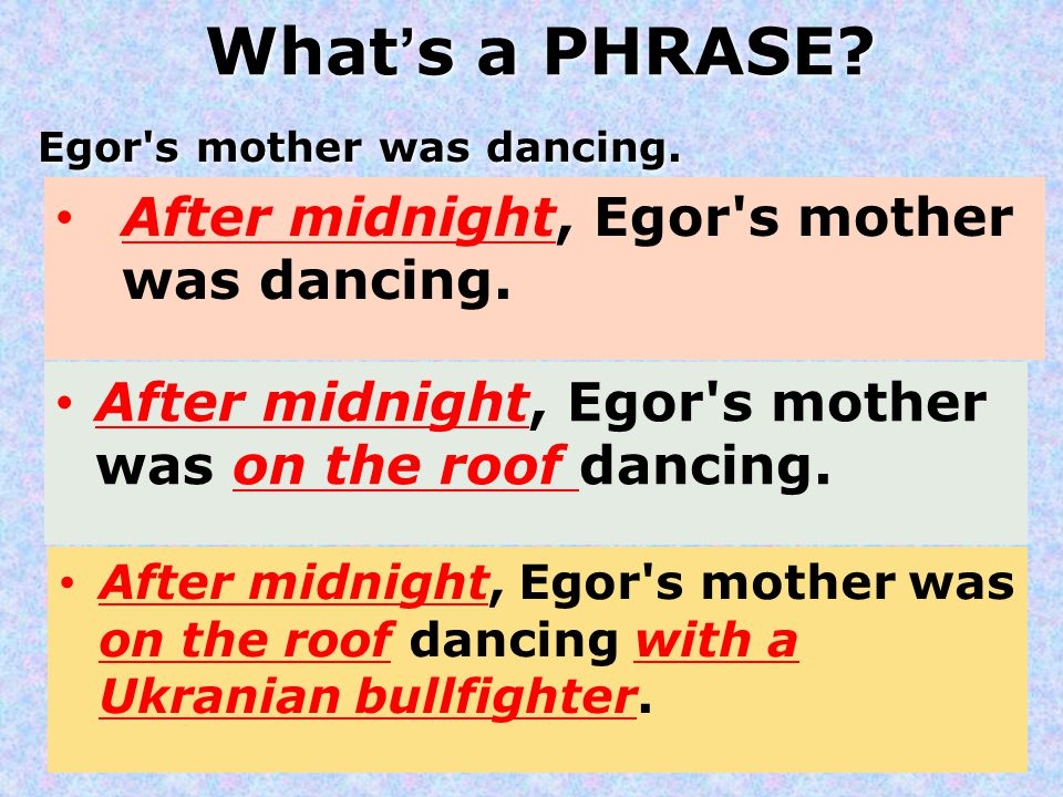 What's a PHRASE After midnight, Egor s mother was dancing.