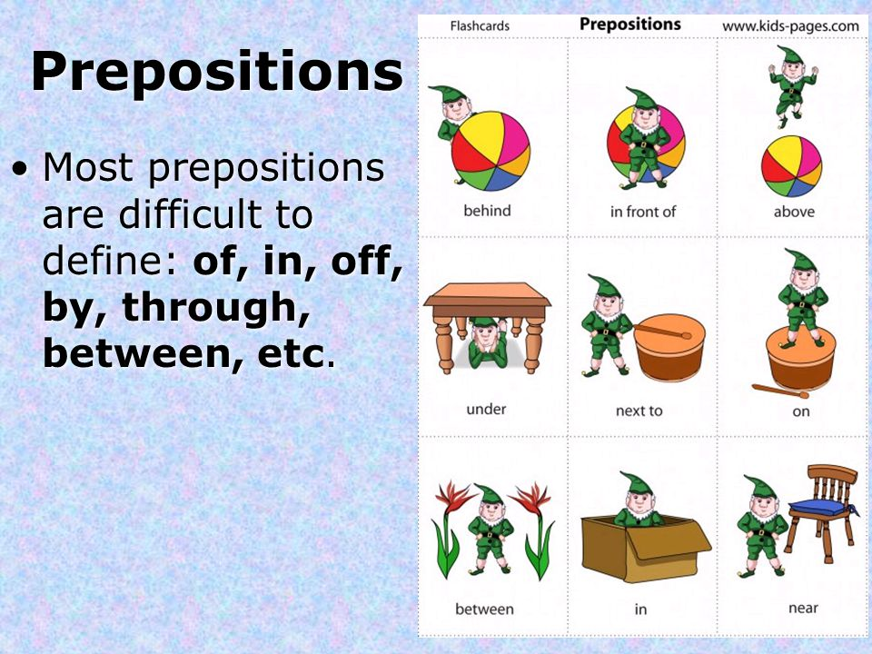 Prepositions Most prepositions are difficult to define: of, in, off, by, through, between, etc.