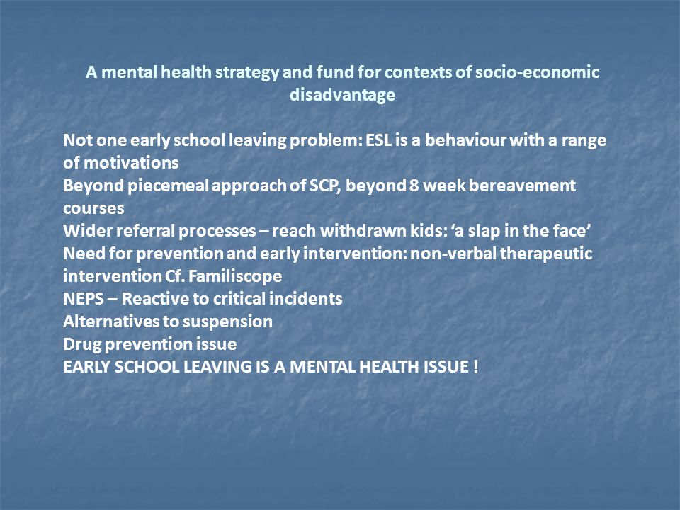 A mental health strategy and fund for contexts of socio-economic disadvantage