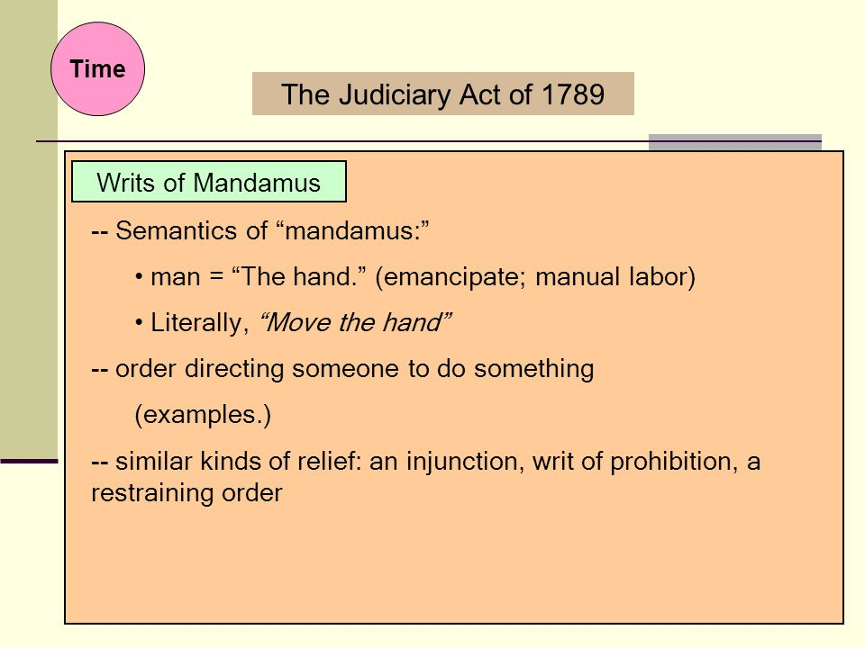 The Judiciary Act of 1789 Writs of Mandamus