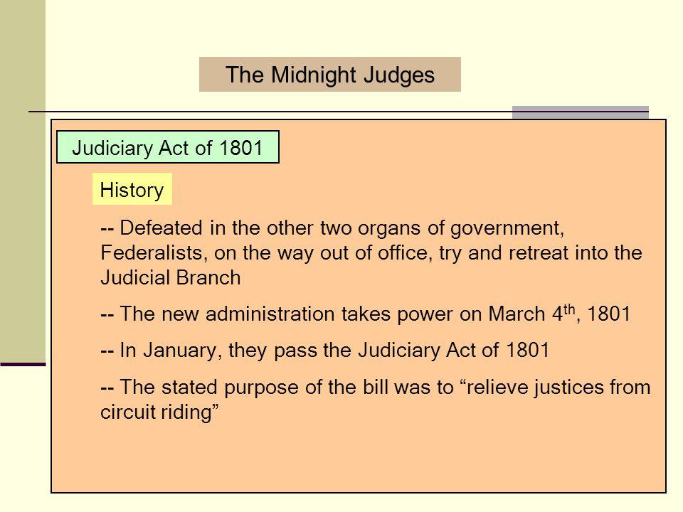 The Midnight Judges Judiciary Act of 1801 History