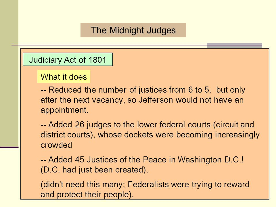 The Midnight Judges Judiciary Act of 1801 What it does
