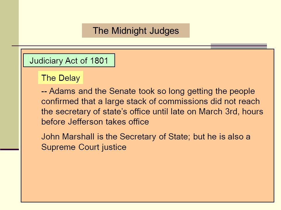The Midnight Judges Judiciary Act of 1801 The Delay