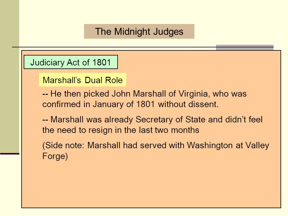 The Midnight Judges Judiciary Act of 1801 Marshall's Dual Role