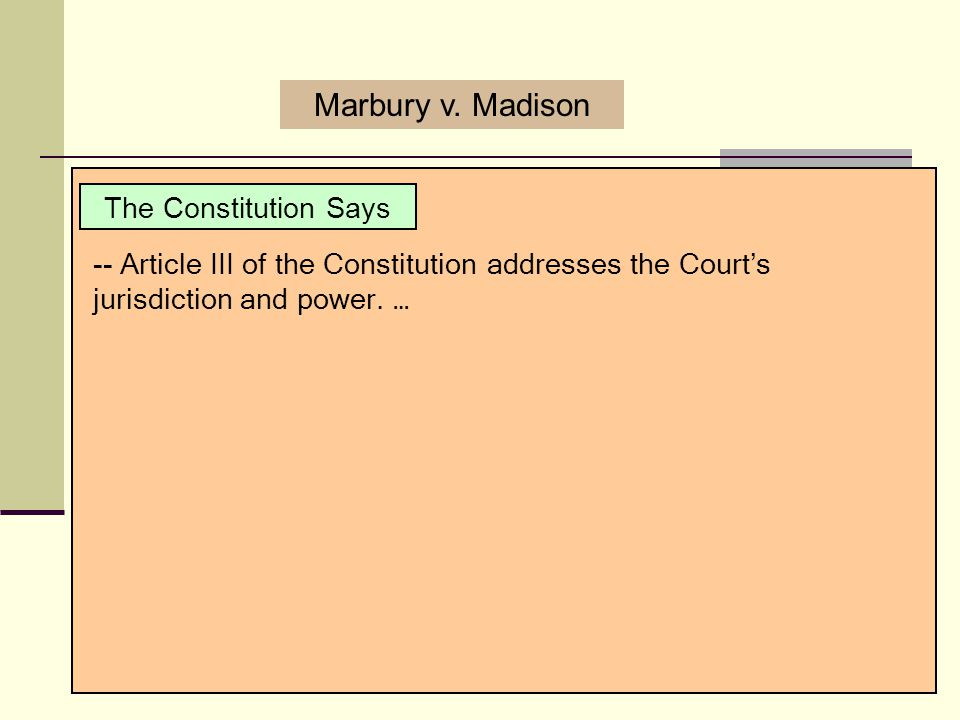 Marbury v. Madison The Constitution Says