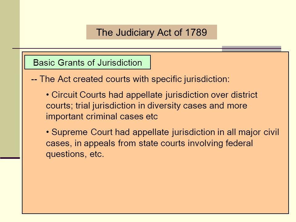 Basic Grants of Jurisdiction