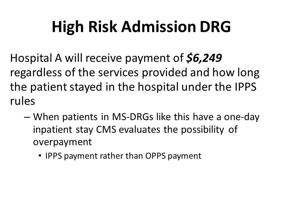 High Risk Admission DRG
