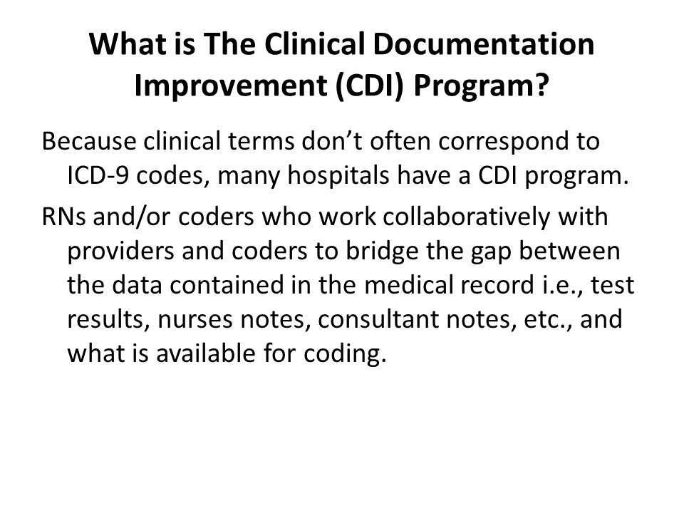 What is The Clinical Documentation Improvement (CDI) Program