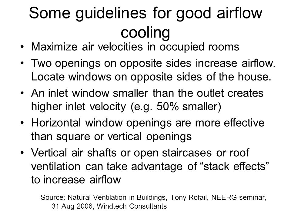 Some guidelines for good airflow cooling