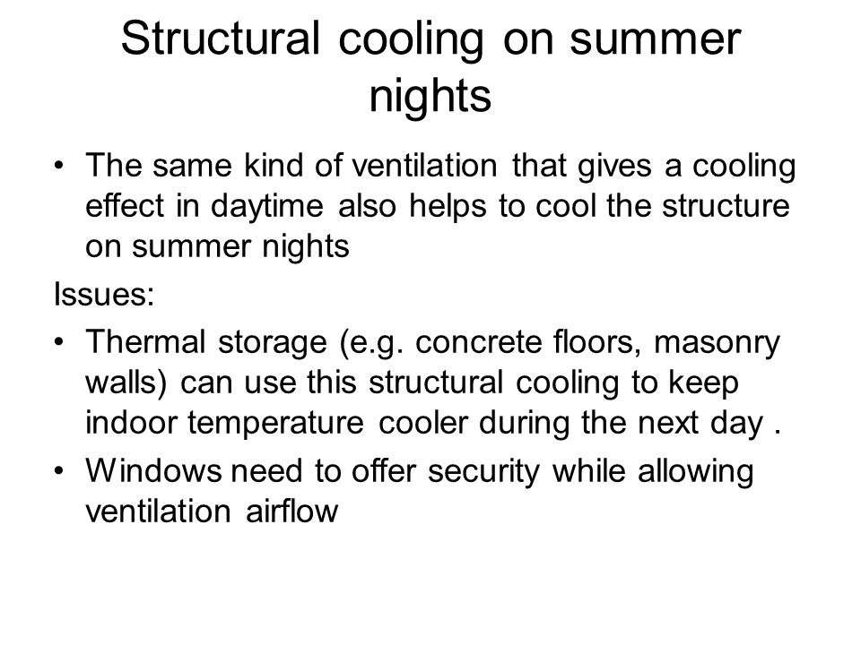 Structural cooling on summer nights