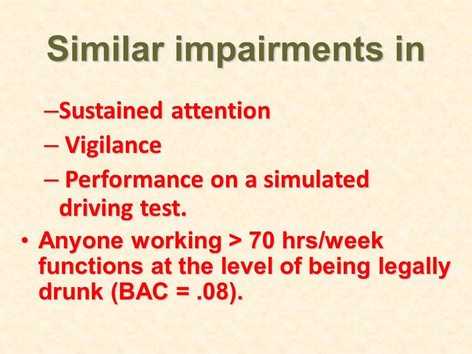 Similar impairments in