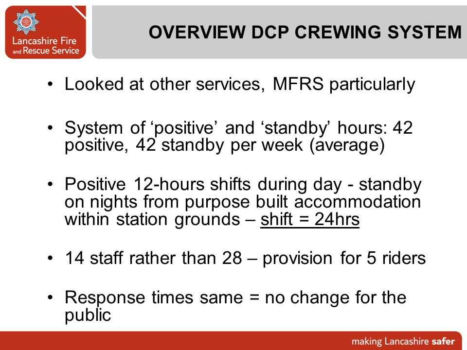 OVERVIEW DCP CREWING SYSTEM
