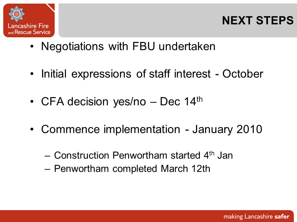 Negotiations with FBU undertaken