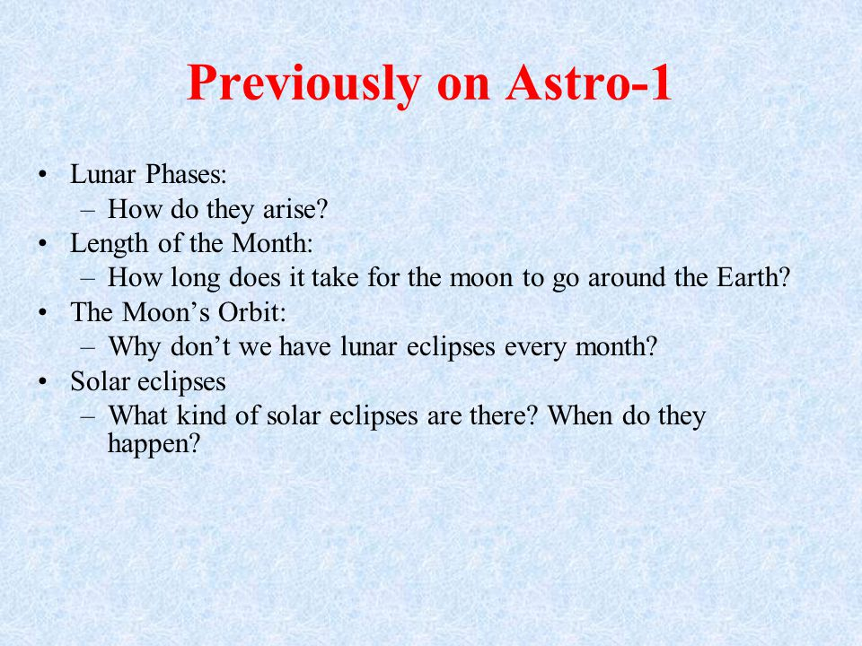 Previously on Astro-1 Lunar Phases: How do they arise