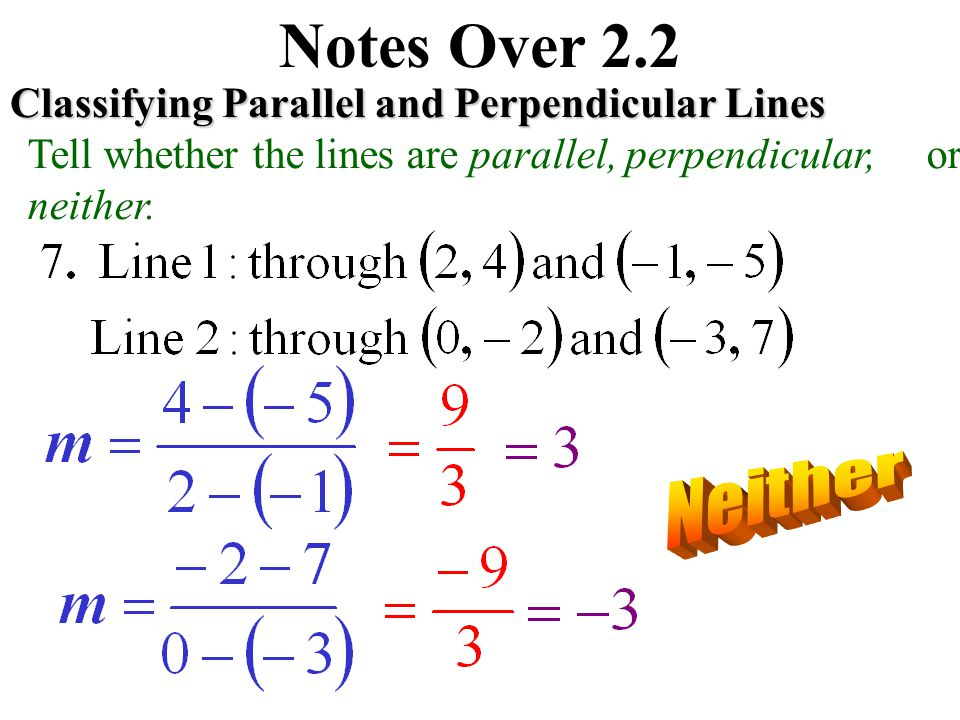 Notes Over 2.2 Neither Classifying Parallel and Perpendicular Lines