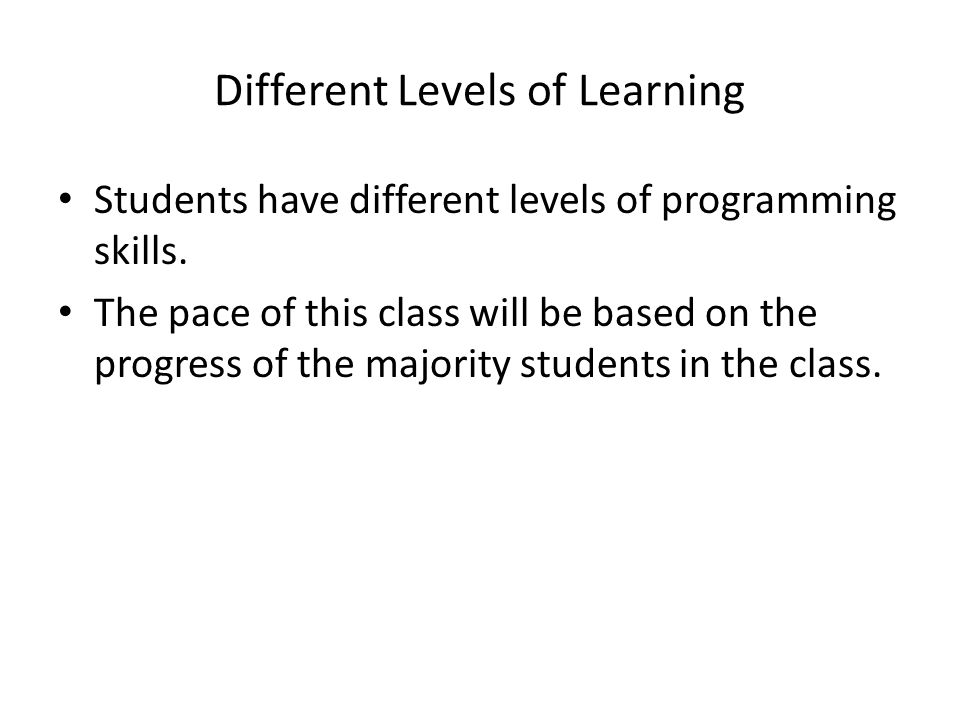 Different Levels of Learning