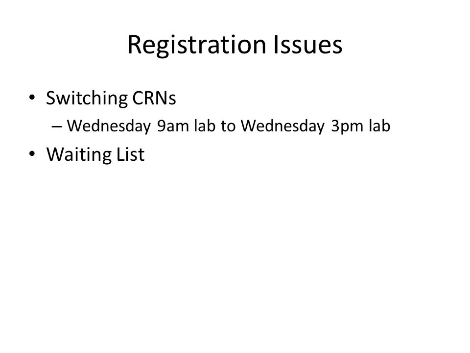 Registration Issues Switching CRNs Waiting List