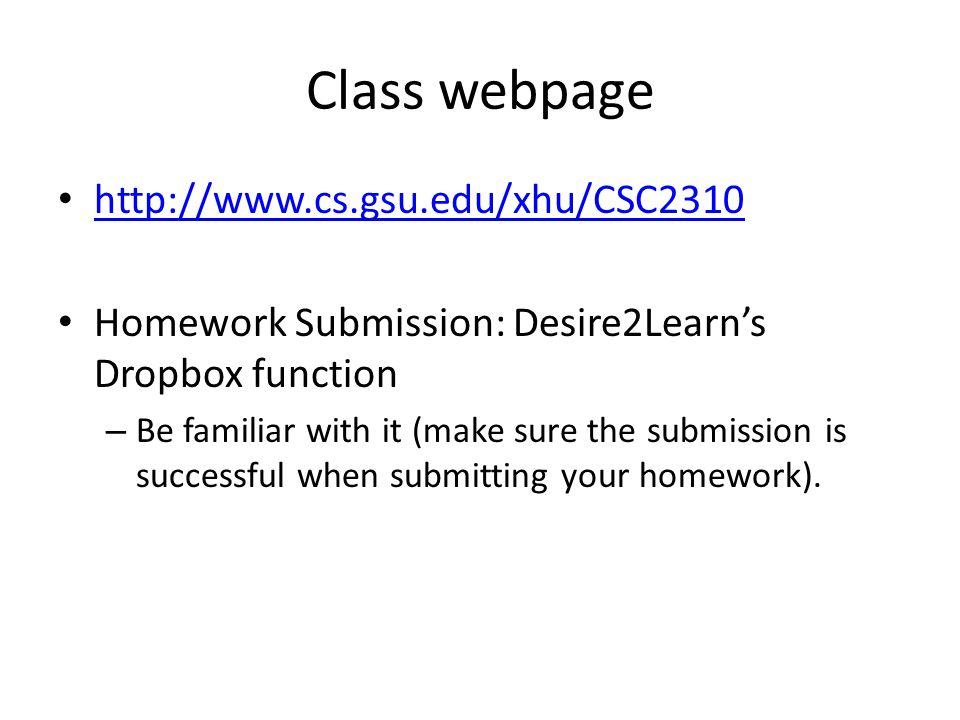 Class webpage http://www.cs.gsu.edu/xhu/CSC2310