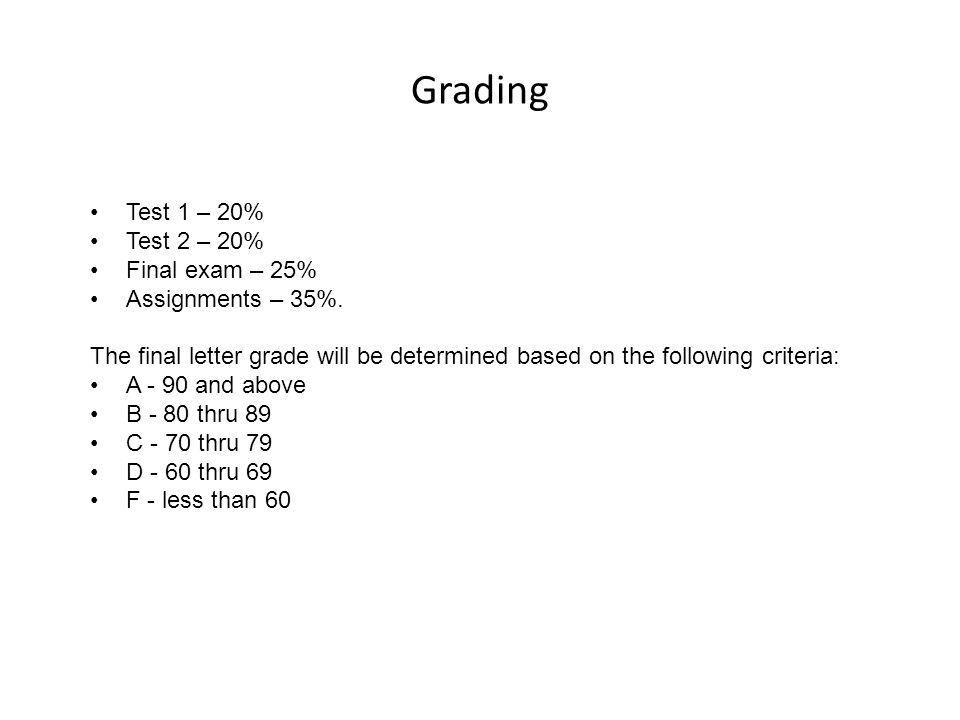 Grading Test 1 – 20% Test 2 – 20% Final exam – 25% Assignments – 35%.