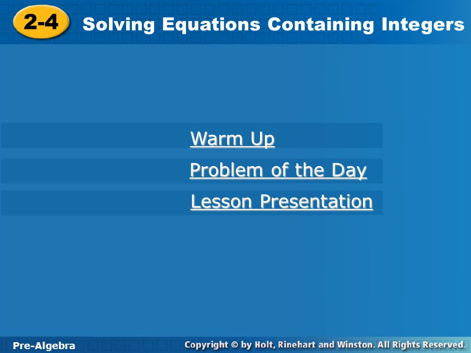 Solving Equations Containing Integers