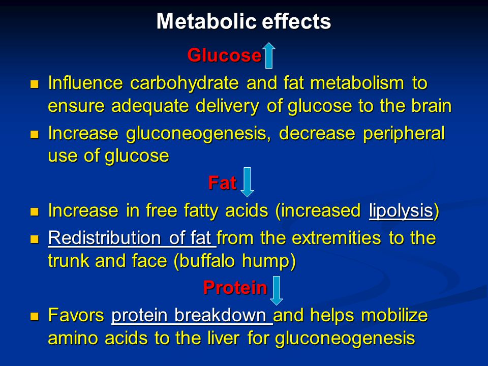 Metabolic effects Glucose