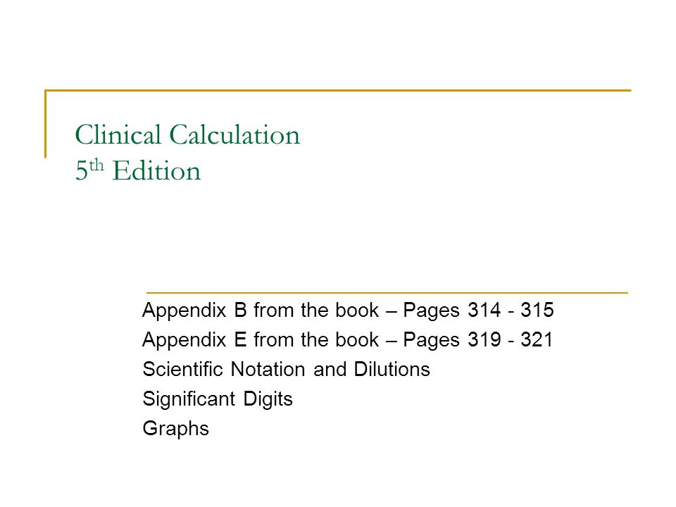 Clinical Calculation 5th Edition