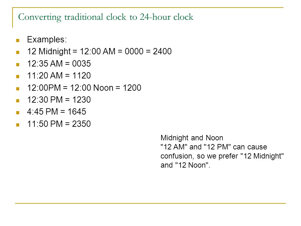 Converting traditional clock to 24-hour clock