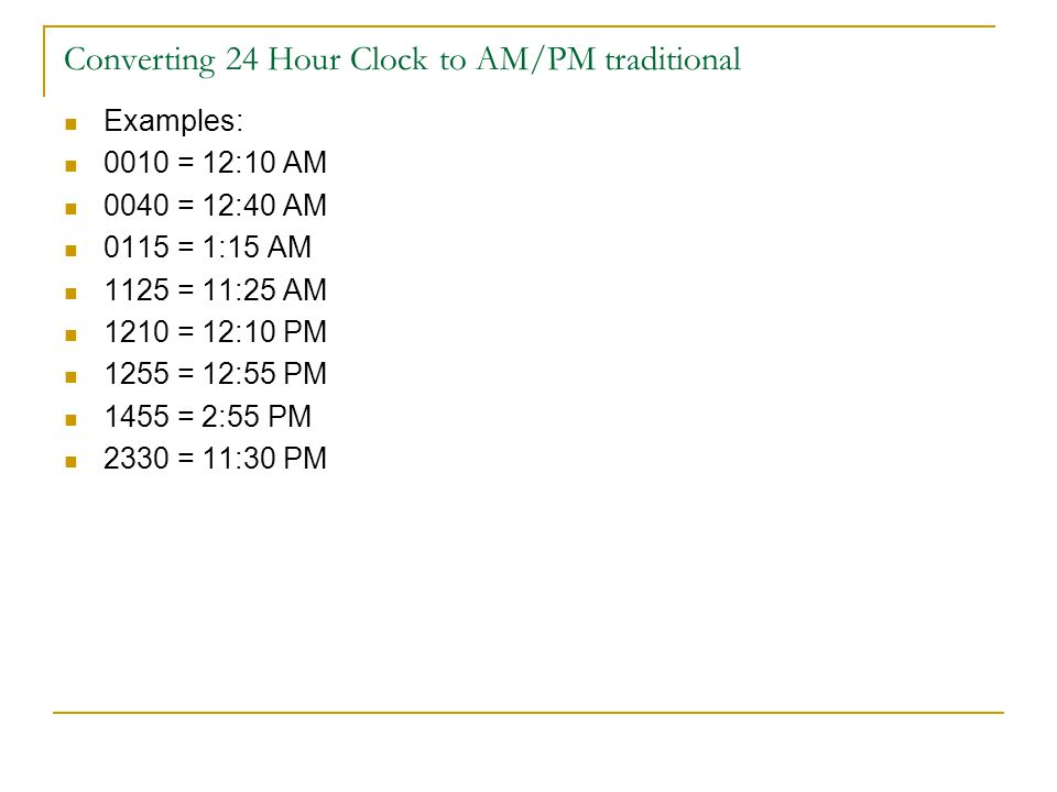 Converting 24 Hour Clock to AM/PM traditional