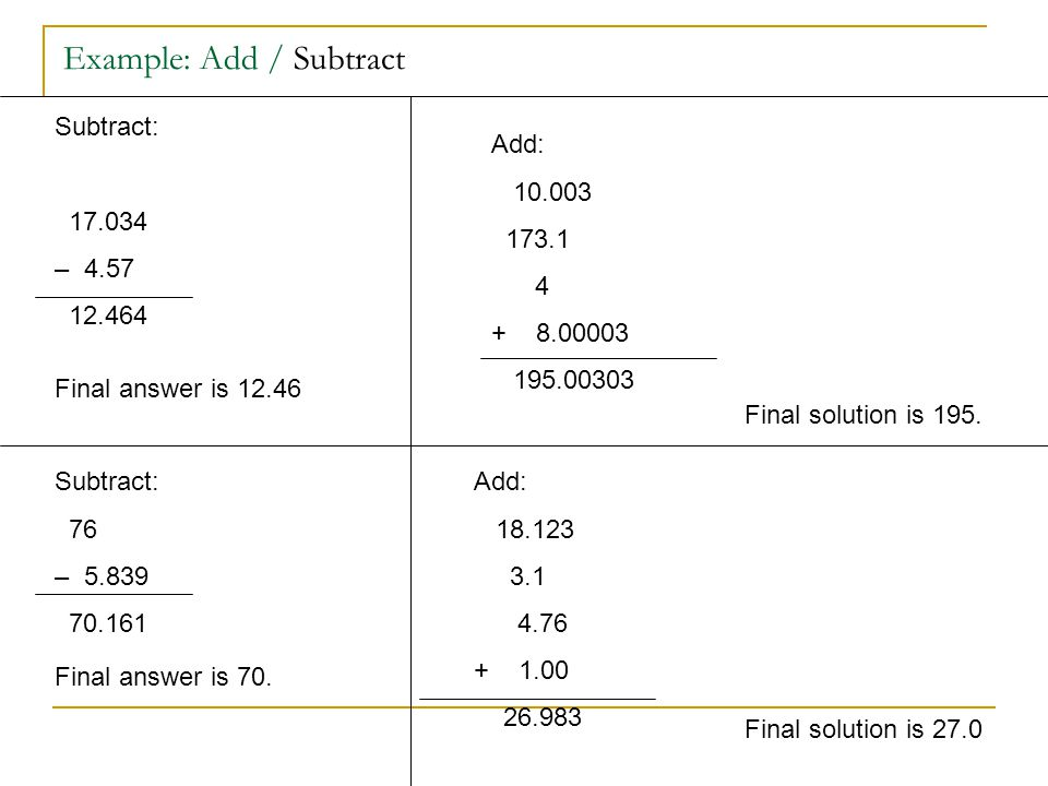 Example: Add / Subtract