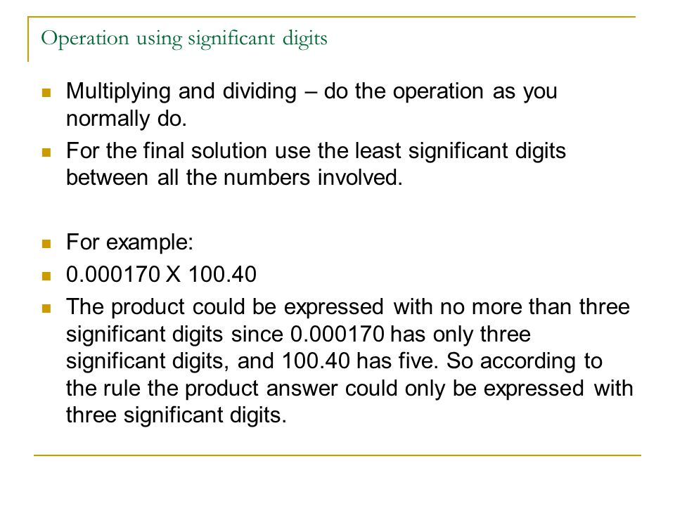 Operation using significant digits