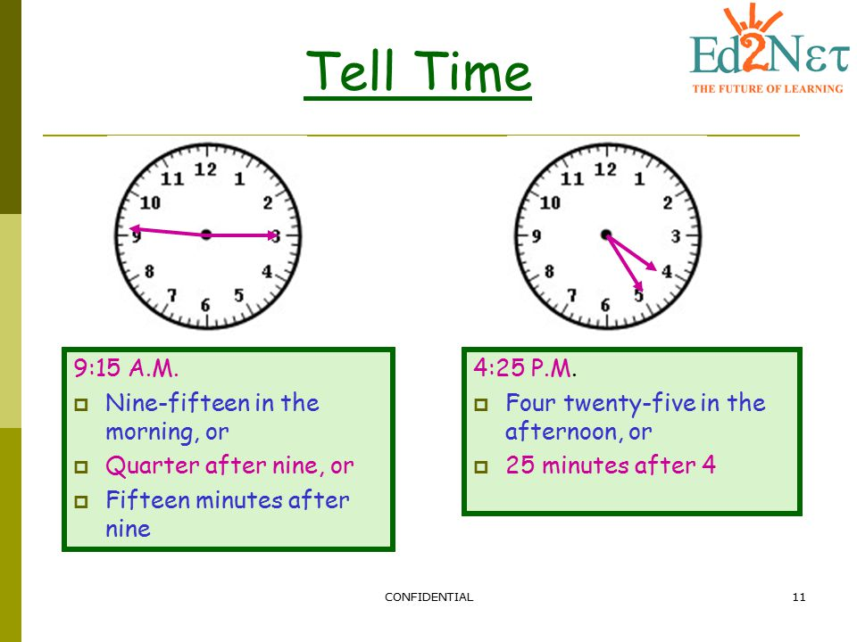 Tell Time 9:15 A.M. Nine-fifteen in the morning, or