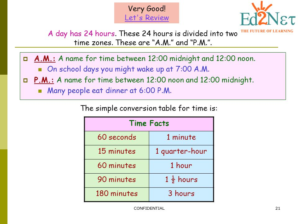 The simple conversion table for time is: