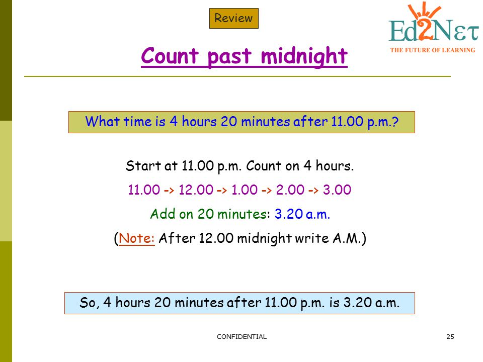 Count past midnight What time is 4 hours 20 minutes after 11.00 p.m.