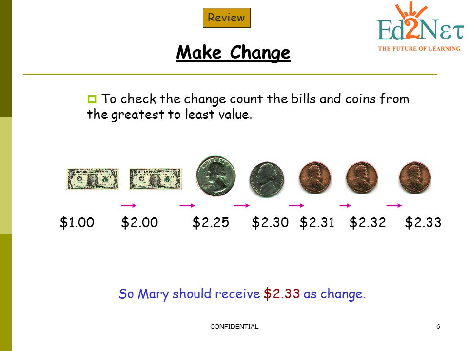 So Mary should receive $2.33 as change.