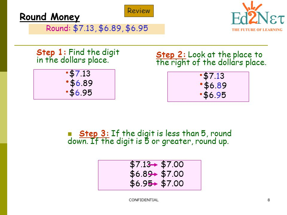 Review Round Money. Round: $7.13, $6.89, $6.95. Step 1: Find the digit in the dollars place.
