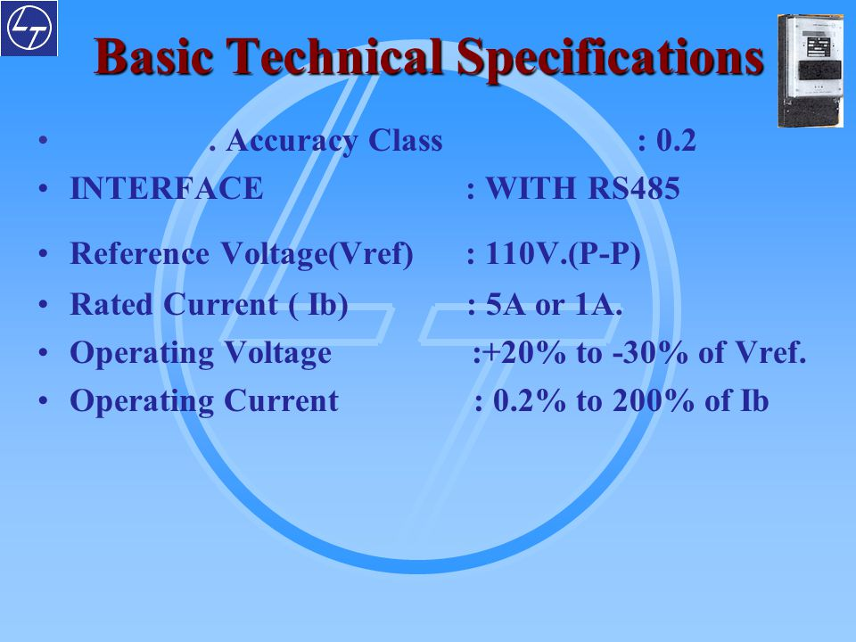 Basic Technical Specifications