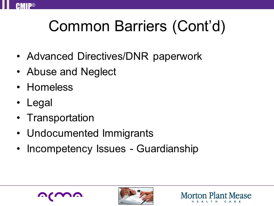 Common Barriers (Cont'd)