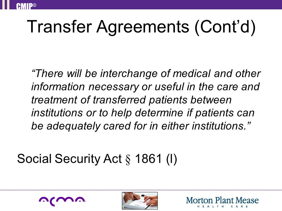 Transfer Agreements (Cont'd)