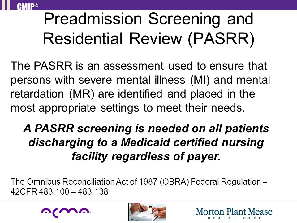 Preadmission Screening and Residential Review (PASRR)