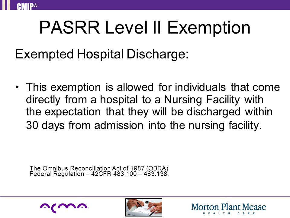 PASRR Level II Exemption
