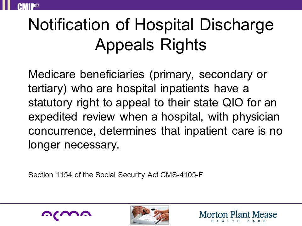 Notification of Hospital Discharge Appeals Rights