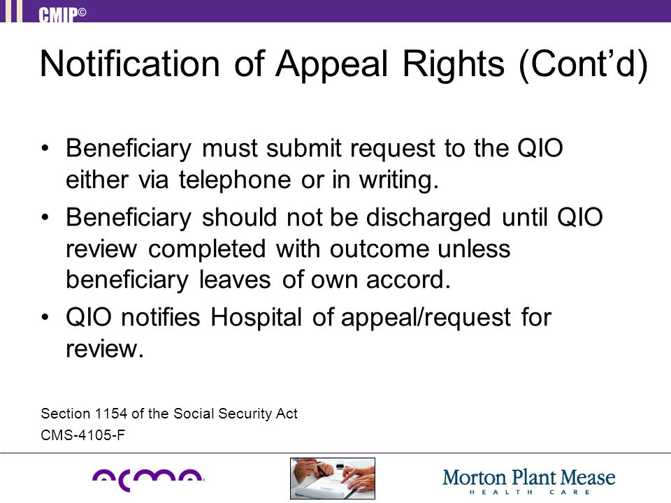 Notification of Appeal Rights (Cont'd)