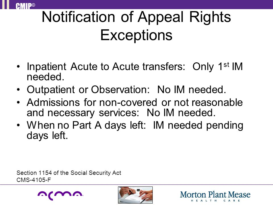 Notification of Appeal Rights Exceptions