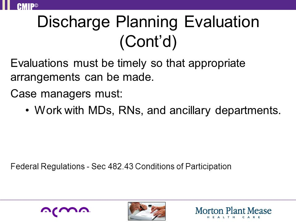 Discharge Planning Evaluation (Cont'd)