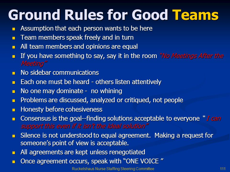 Ground Rules for Good Teams