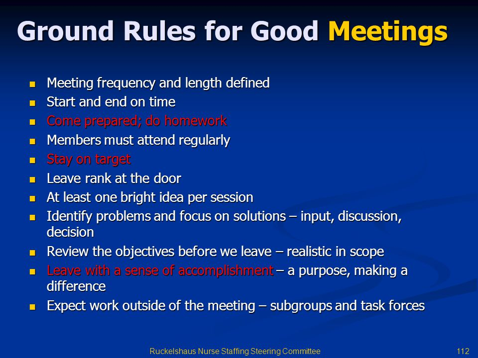 Ground Rules for Good Meetings